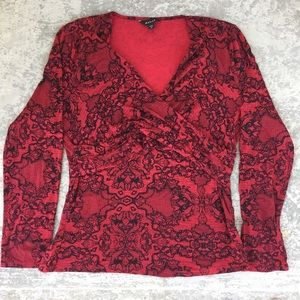 Red with Black Lace Pattern Top